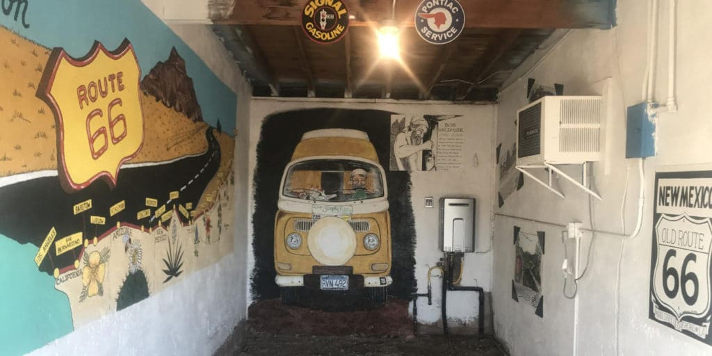 room with painted walls and Route 66 decor